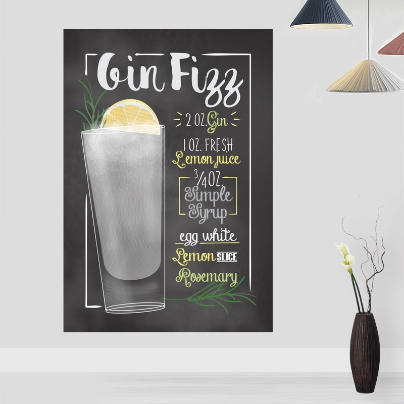 Gin Fizz Cocktail Bar Drinks and Cocktail Signs Retro Poster Canvas Print Bar Decor Wall Art Decor No Frame image