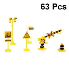 Toys Sign Matching Street-Traffic Educational Scene Fire 63pcs 7-Packs Road-Signal-Signage