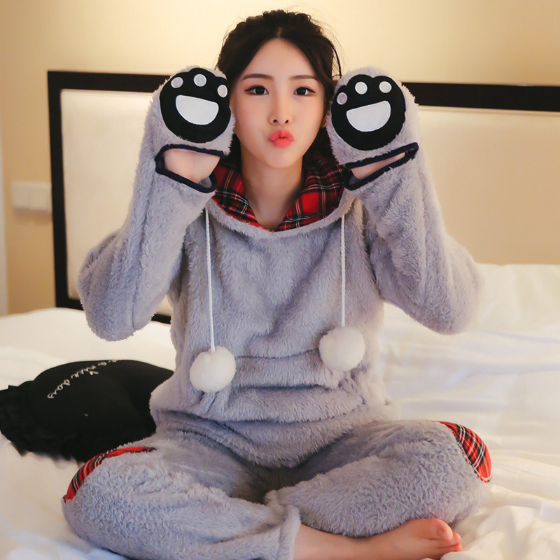 Winter New Products Solid Color Plaid Berber Fleece Pajamas Suit Thick Warm Hooded Hand Warmer Hand-shaped Brush Women's Home We