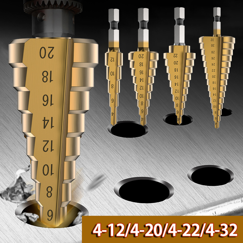 4-12/20/22/32mm HSS Step Drill Bit Set Golden Drilling Power Tools For Metal High Speed Steel Wood Hole Cutter Step Cone Drills