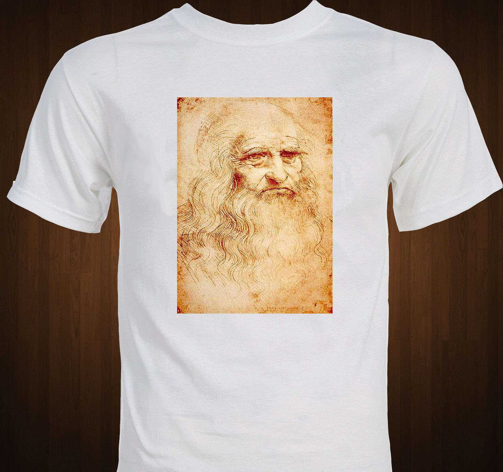 Newest 2019 T Shirt Men Tshirt T Shirt Funny T-Shirt Men Leonardo Da Vinci Self Portrait Drawing Renaissance Art Tee Shirts image