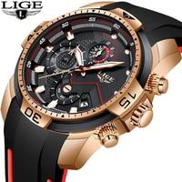 2019 LIGE nuevo reloj de silicona para hombre  reloj de cuarzo militar de lujo para hombre  reloj impermeable deportivo para hombre  reloj Masculino