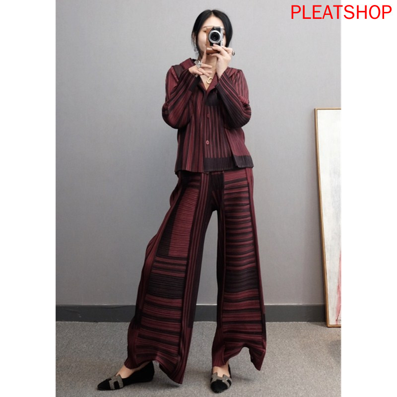 Miyake Pleated Spring New Style WOMEN'S Suit Casual Fashion Western Style Two-Piece Set Loose Pants Large Size trousers set