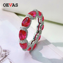 OEVAS 100% 925 Sterling Silver Sparkling Full High Carbon Diamond Synthetic Ruby Aquamarine Emerald Rings For Women Fine Jewelry