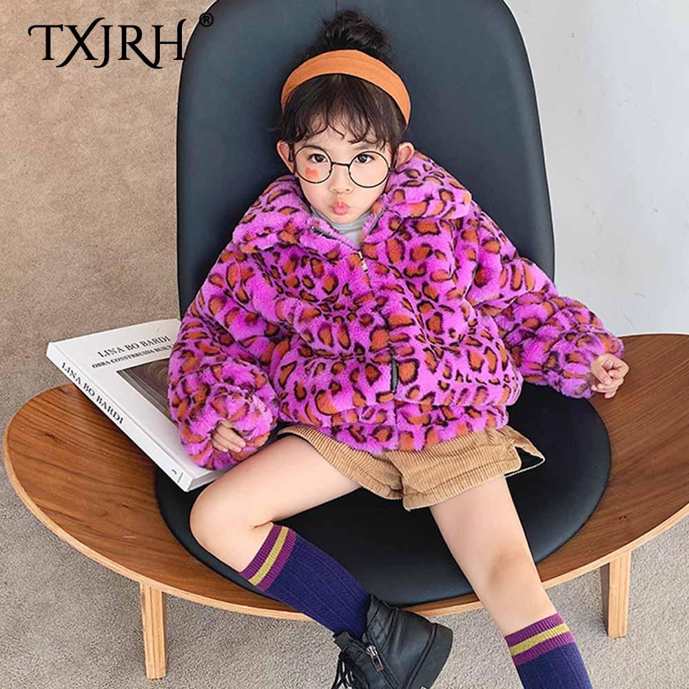TXJRH 2019 mère fille revers poilu Shaggy violet léopard Faux lapin fourrure manteau fermeture éclair manches longues veste d'extérieur hauts