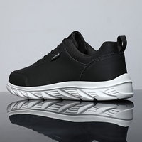 Waterproof PU Casual Sports Men's Shoes Lightweight Non-slip MD Sneakers 2021 New Fashion Black Outdoor Walking Shoes Size 38-46 1