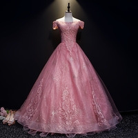 Mrs Win Quinceanera Dress 2020 Short Sleeve Off The Shoulder Floor length Ball Gown Vintage Party Prom Quinceanera Dresses