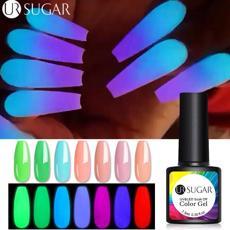 UR SUGAR 7.5ml Luminous Neon Nude Pink Gel Nail Polish Fluorescent Colorful Gel Lacquer Glow In The Dark Soak Off UV Gel Varnish