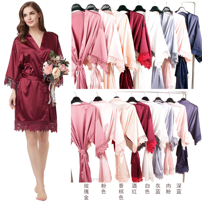 Hot Sales Bridesmaid Morning Run Lace Women's Robes Elasticity Matte Satin Lace Women's Robes A9007 One Size