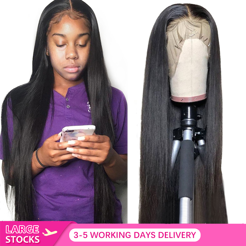 FASHOW droite dentelle avant perruques de cheveux humains pré plumé naturel délié brésilien Remy cheveux perruque 13X4 perruque de dentelle 8-28 pouces à vendre