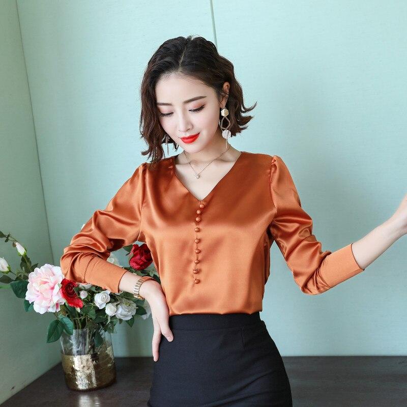Купить корейская мода шелковые женские блузки осенняя атласная офисная