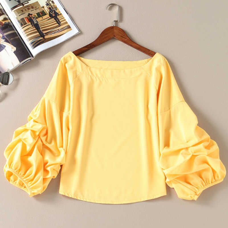 2020 New Arrival Women Spring Novelty Ruffles Solid Shirt Female Casual Lantern Sleeve Fashion Soft Blouse Shirts Top