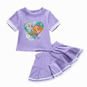 Image 5 - Подлинная детская одежда из м/ф «Щенячий патруль», детская одежда, летняя хлопковая футболка из двух предметов с круглым вырезом и юбкой
