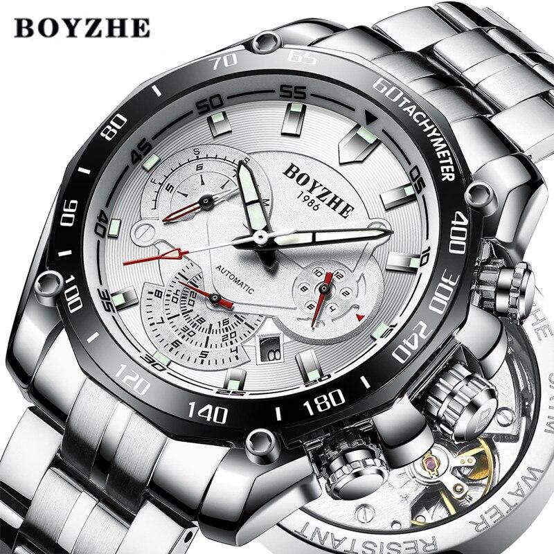 BOYZHE 2018 Men Automatic Mechanical Watch Male Sport Luminous Luxury Brand Waterproof Stainless Steel Watches Relogio Masculino