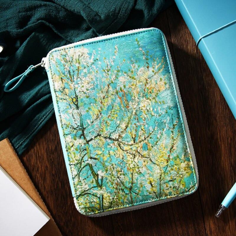 Yiwi 2020 Van Gogh Blooming Peach Zip Bag Planner With Filler