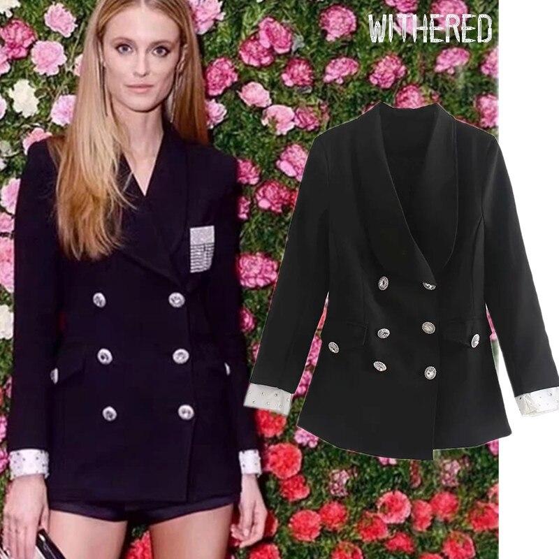 Withered Runway England Vintage Rhinestone Patchwork Slim Shawl Collar Blazer Feminino Blazer Mujer 2019 Women Blazers Jackets