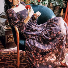 Женское винтажное платье с длинным рукавом повседневное элегантное