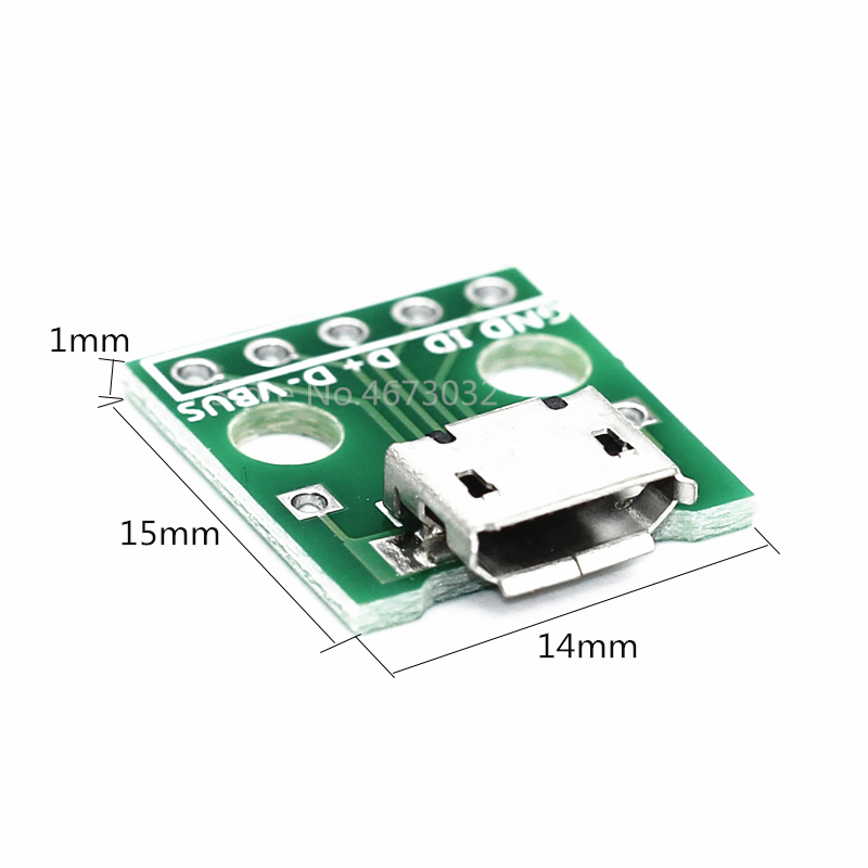 10pcs MICRO USB To DIP Adapter 5pin Female Connector B Type PCB Converter Breadboard USB-01 Switch Board SMT Mother Seat(China)