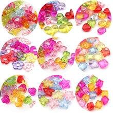 Grânulos de espaçador acrílico coração/flor/estrela de cinco pontas transparente misture pingentes de cor para jóias que fazem suprimentos diy atacado