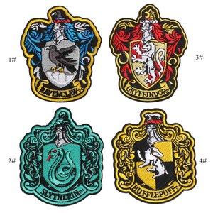 Snake Lion Iron On Hogwarts Ravenclaw Gryffindor Crest Hufflepuff Slytherin Embroidered Clothes Patches For Clothing Wholesale(China)