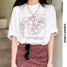 Genayooa Streetwear Abstract T-shirts Printing Women Tops Summer White Cotton Tee Shirt Femme Harajuku Clothing Korean y2k
