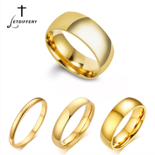 Letdiffery Simple 2/4/6/8mm Stainless Steel Wedding Rings Golden Smooth Women Men Couple Ring Fashion Jewelry