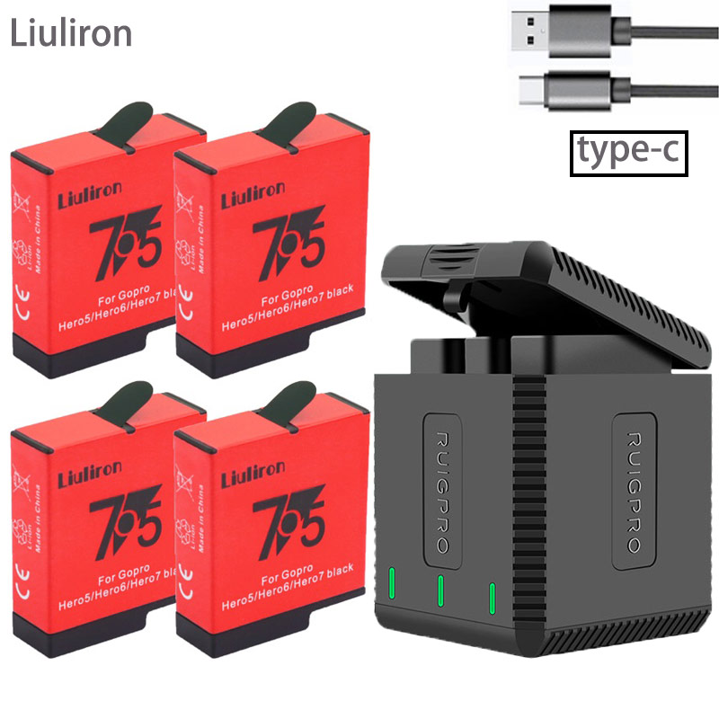 High Quatity Fully Decode Go Pro Hero 7 Battery+3Port TYPE-C Charger For GoPro Go Pro Hero 5 6 7 8 Black Camera Accessories