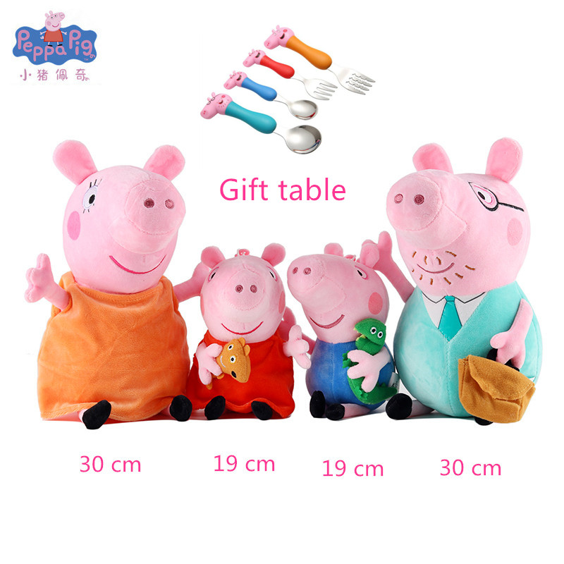 New Peppa Pig Little George Dad Mom Family Cartoon Doll Children Cutlery Cute Cartoon Scratch Spoon Set Plush Toy Children Gift