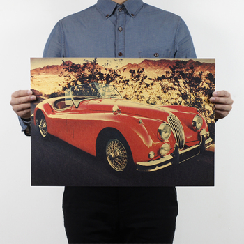 AIMEER Classic retro red convertible vintage car supercar vintage kraft paper poster cafe decor painting wall stickers 51x36cm image