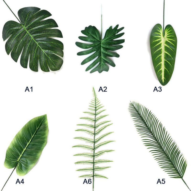 5PCS/Set Home Simulation Leaf Artificial Leaf Tropical Palm Leaves For Hawaiian Luau Party Jungle Beach Theme Party Decorations