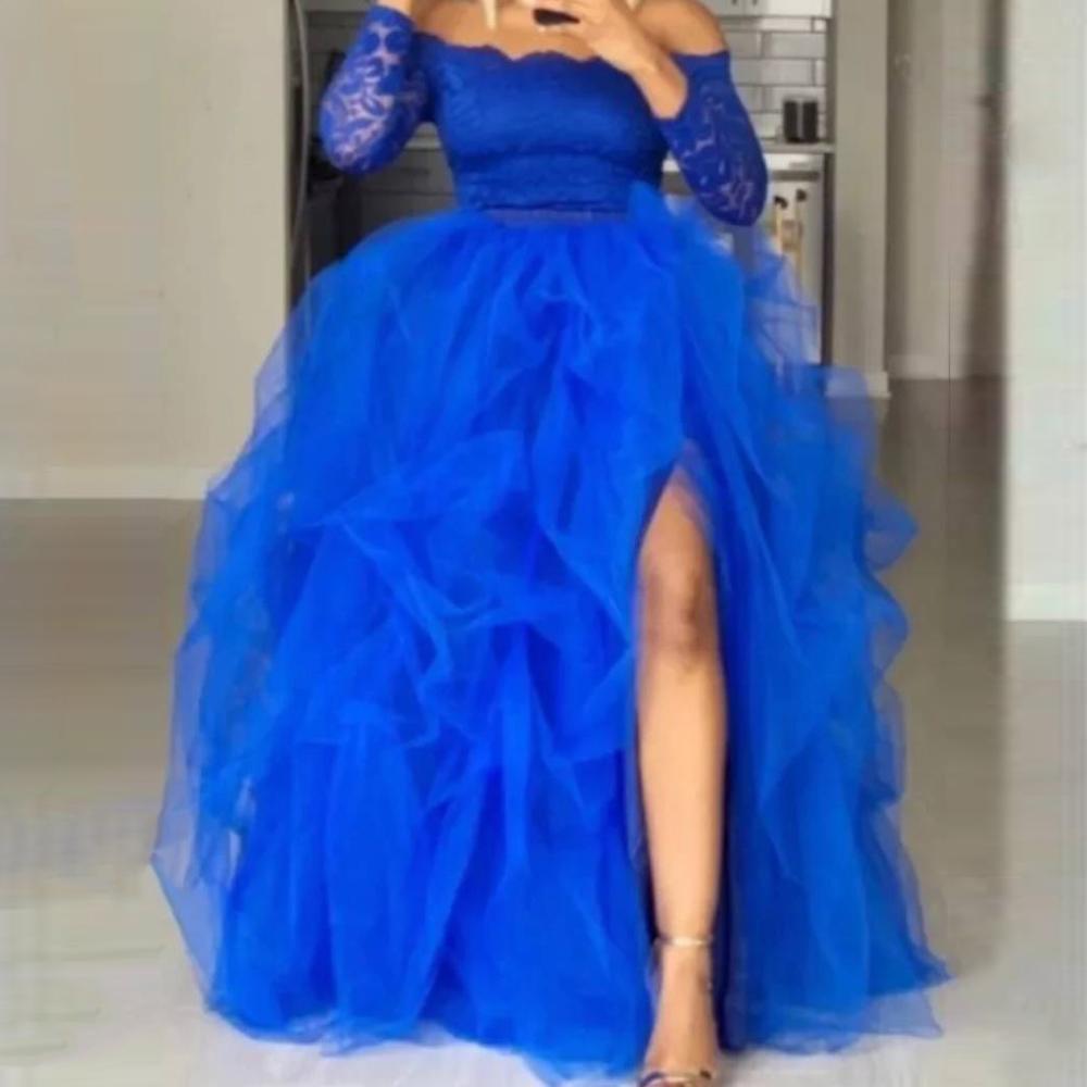 Extra Puffy High Slit Tulle Skirt Ball Gown Floor Length Maxi Skirt For Women Royal Blue Draped Hi Slit Skirts Plus Size
