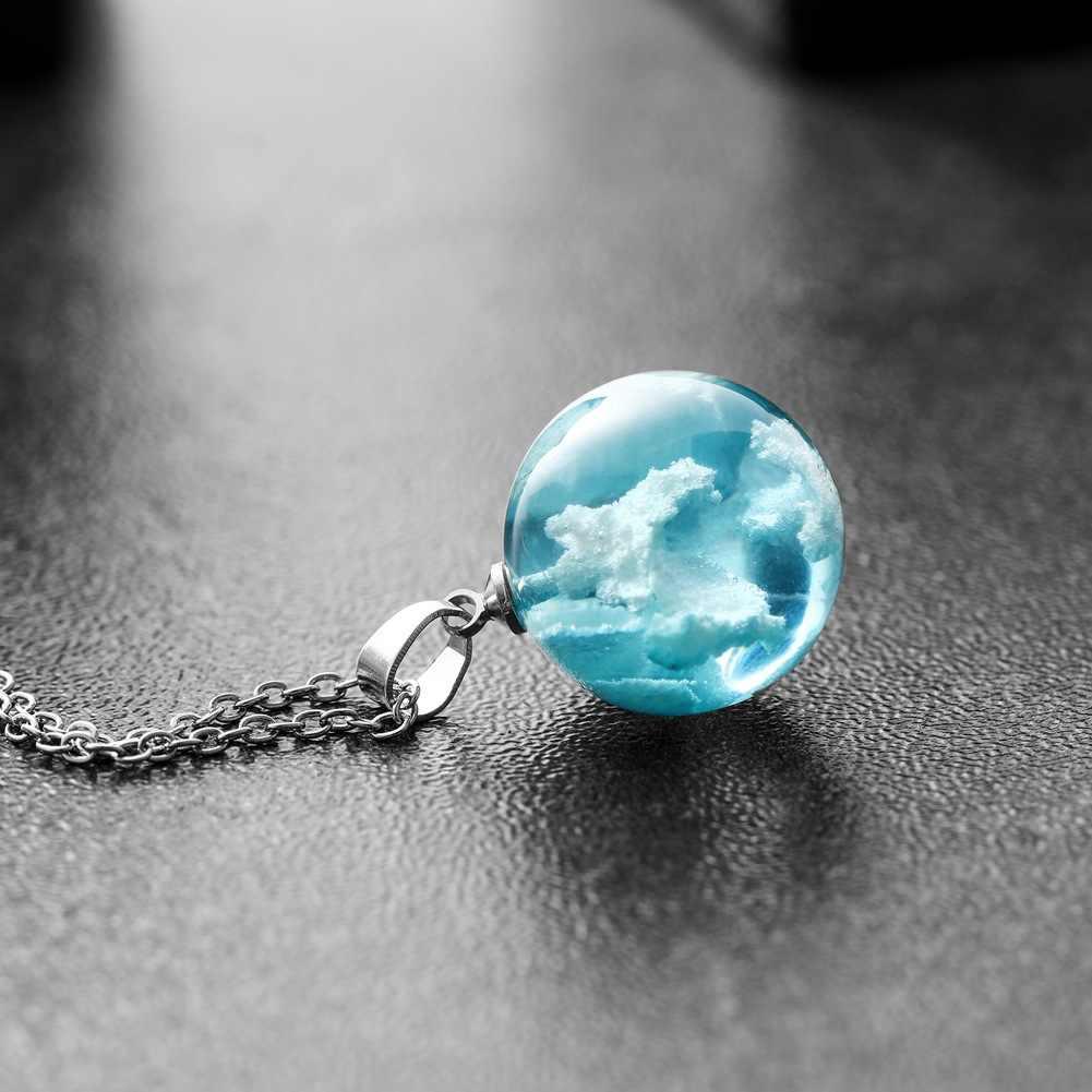 موضة جديدة كرة مستديرة قلادة القلائد للنساء السماء الزرقاء والأبيض سحابة قصيرة مجوهرات بنات الحب هدية ربط سلسلة مجوهرات