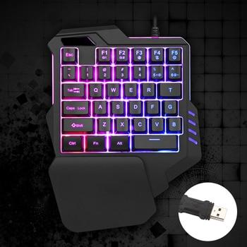 цена на One Handed Mechanical Keyboard Left Hand Game Keypad for PC Game LOL PUBG One-Handed RGB Mechanical Gaming Keyboard 42 Keys