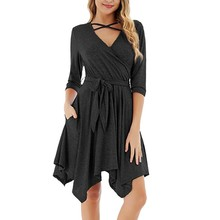 Sexy Lace-up Big Swing Women's Autumn Winter Crisscross Dress V-Neck Three Quarter Sleeve Solid Dress Ladies Casual A-Line Dress crisscross v neck form fitting dress