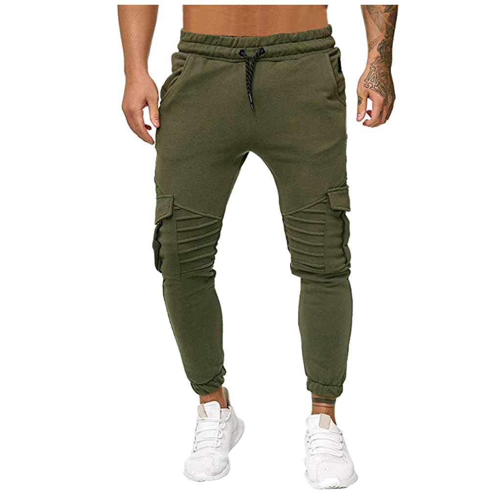 Cargo/&Chinos Men Pure Color Pocket Overalls Casual Pocket Sport Work Casual Trouser Pants