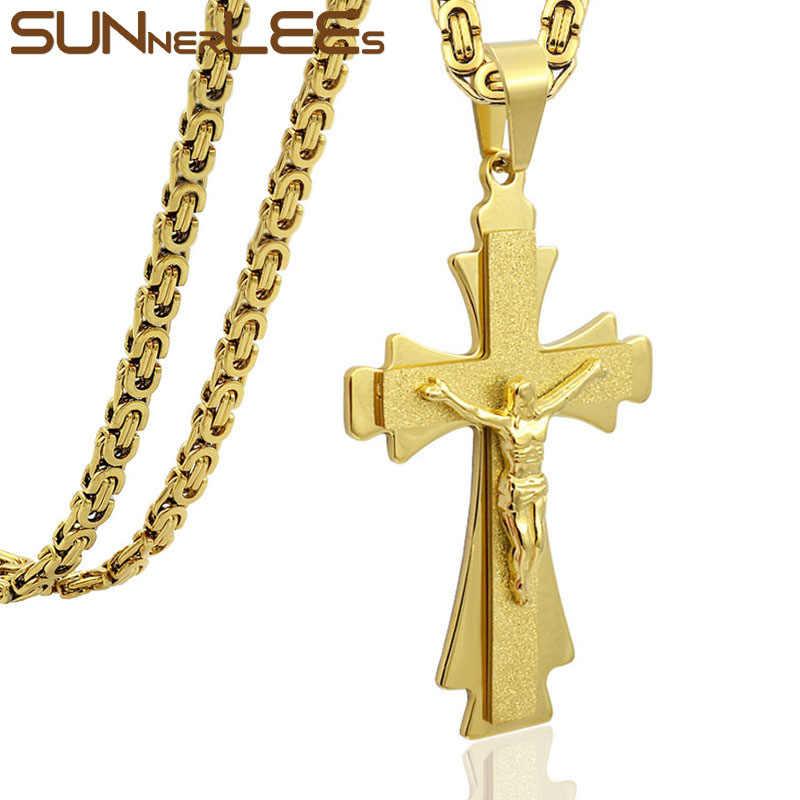 SUNNERLEES stal nierdzewna 316L jezus chrystus krzyż naszyjnik bizantyjski Link Chain srebrny złoty mężczyźni chłopcy prezent SP215