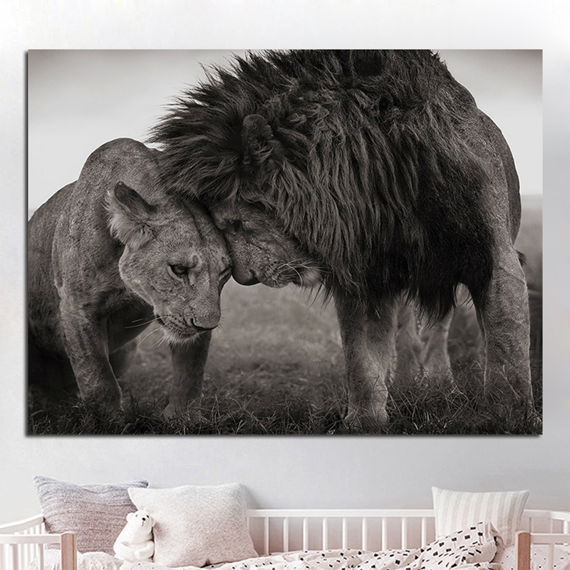 Black And White African Lions Canvas Painting Father And Son Animals Posters And Prints Cuadros Wall Decor Living Room Picture