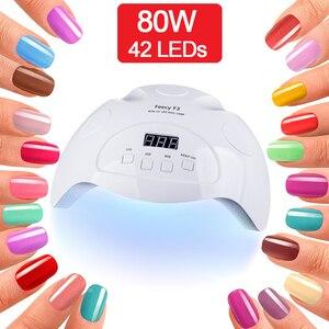 Image 1 - מנורת UV לציפורניים מניקור LED UV ג ל נייל מנורת אור מייבש ציפורניים ג ל פולני עם 10 s/30 s/60 s כפולה ידיים פדיקור אמנות כלים