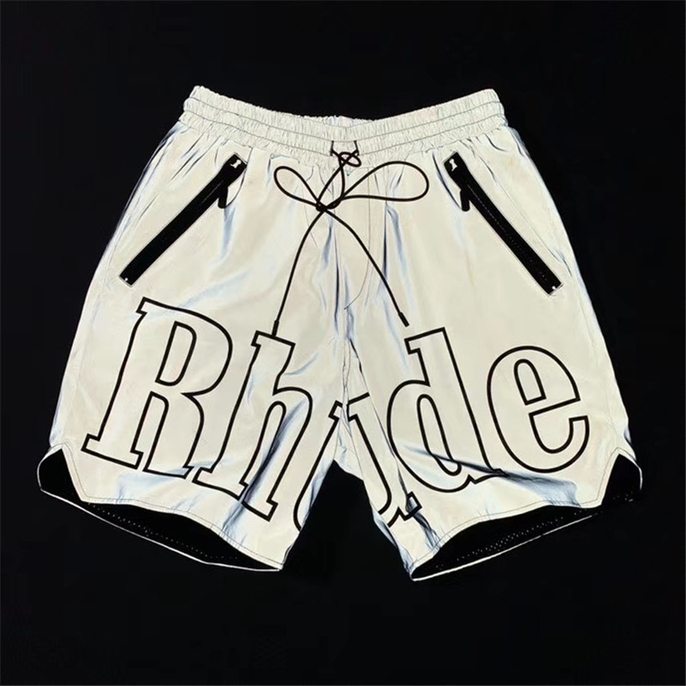 RHUDE Shorts Gray Color Men Women Reflective Effect Rhude Shorts Inside Tag US/EU Size Oversize