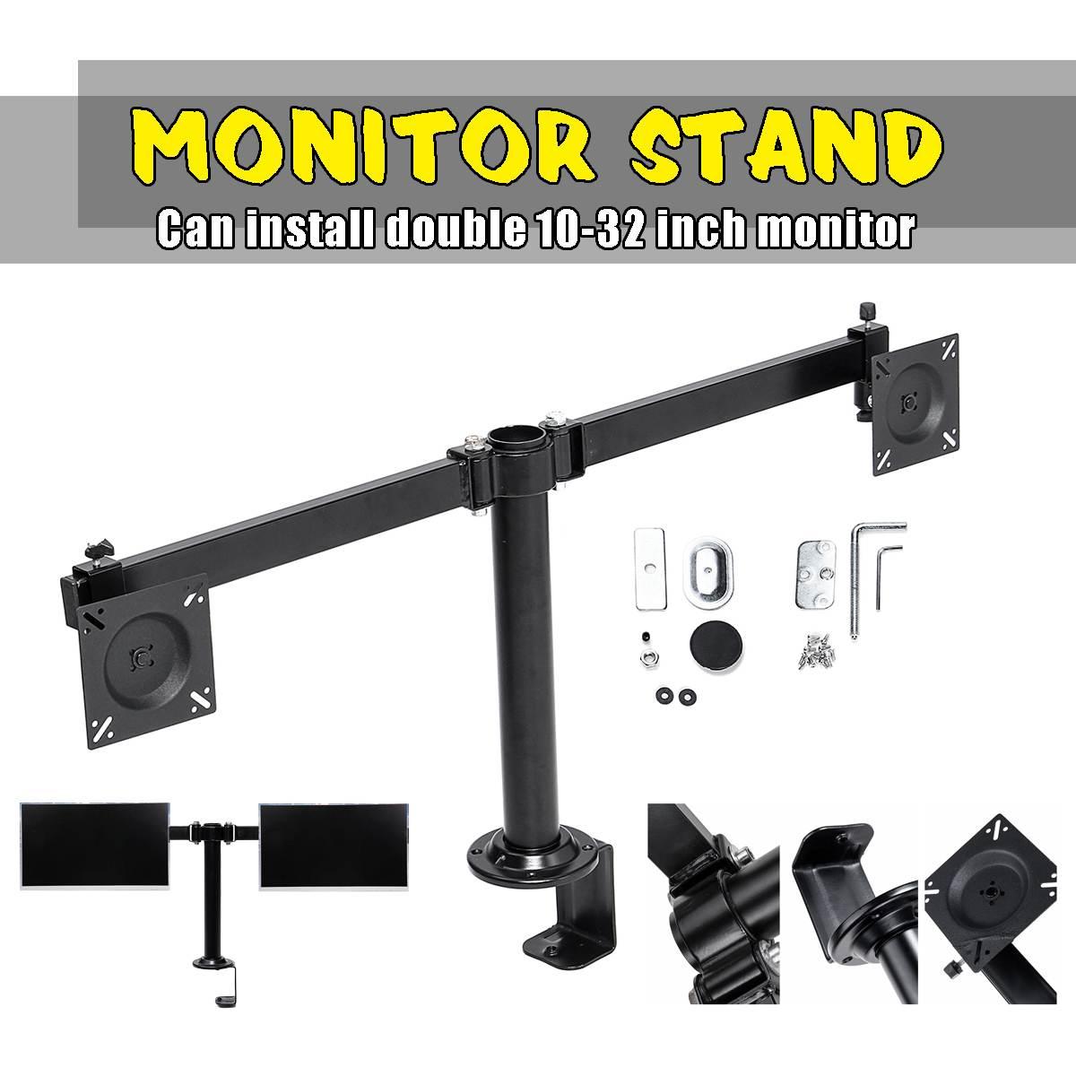 10-32 pouces mouvement réglable Double moniteur socle de bureau Double bras réglable porte-table pour écran LCD écrans d'ordinateur