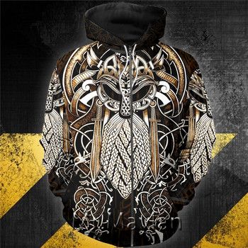 3D Viking Odin Special Viking Tattoo Hoodie Men/women Hipster Streetwear Outfit Spring Boys Hiphop Hood Sweatshirts Tops Clothes 2