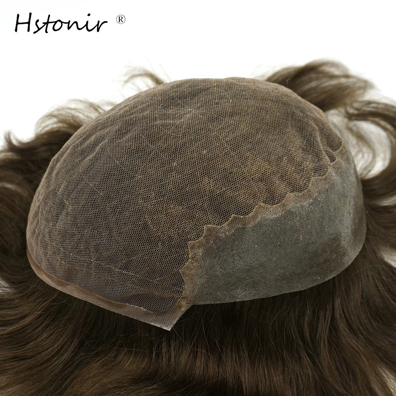 Hstonir Bella Mens Hair System Light Density Remy Hair Wig Mens Human Hair Toupees Wig For Males H045