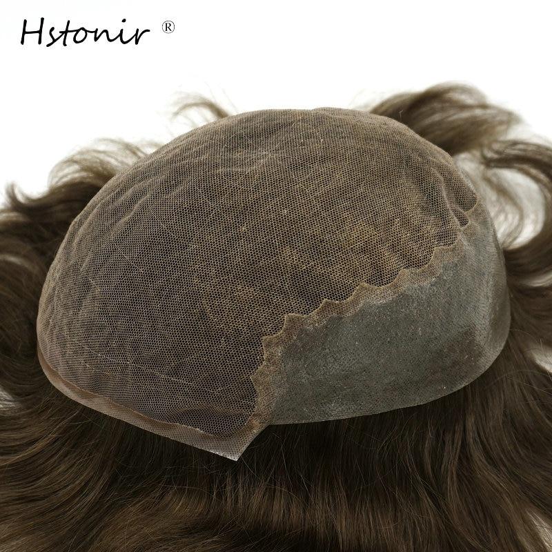 Hstonir Bella Mens Hair System Light Density Remy Hair Wig Mens Human Hair Toupees Wig For Males H045