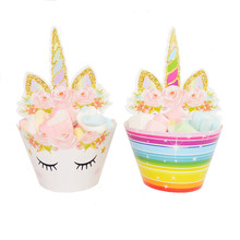 12pcs wrappers + toppers Unicorn mouse Design Colored Paper cupcake cake decorations supplies