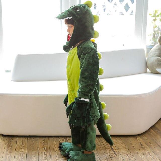 어린이 크리스마스 잠옷 겨울 따뜻한 플란넬 공룡 잠옷 만화 동물 소년 소녀 모자 새로운 어린이 원피스 잠옷