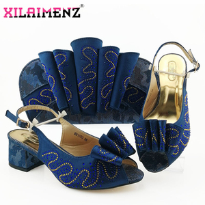 Image 2 - Silver Latest Comfortable Shoes and Bags Set African Sets 2019 Italian Shoes and Matching Bags Women Rhinestone Wedding Shoe