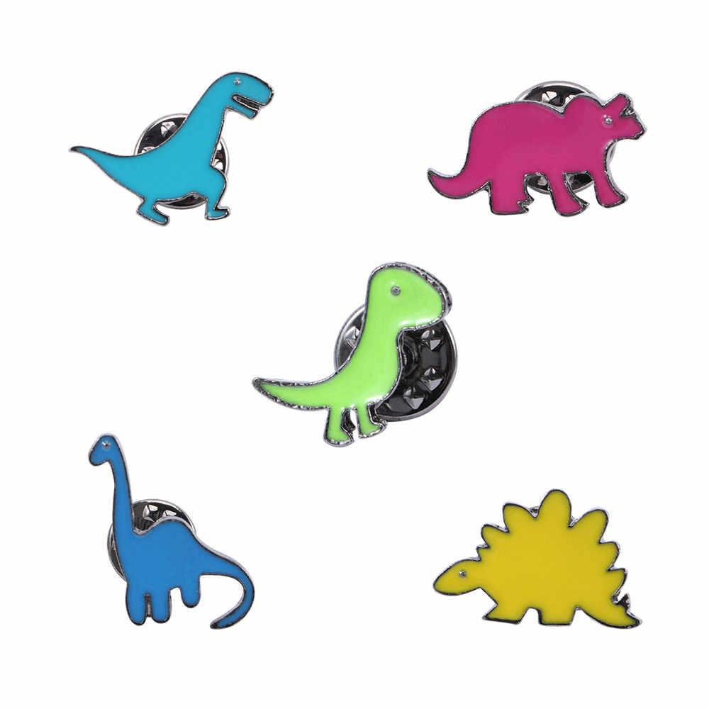 1PC ที่มีสีสันการ์ตูนเข็มกลัด Pin Enamel น่ารักไดโนเสาร์ Dragon เด็กกระเป๋าเสื้อผ้าเครื่องประดับวันเกิดของขวัญ COLLAR Lapel PIN