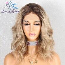 Beautytown escuro raiz ombre marrom curto resistente ao calor do cabelo blogger diário maquiagem glueless perucas de festa de casamento sintético do laço dianteiro
