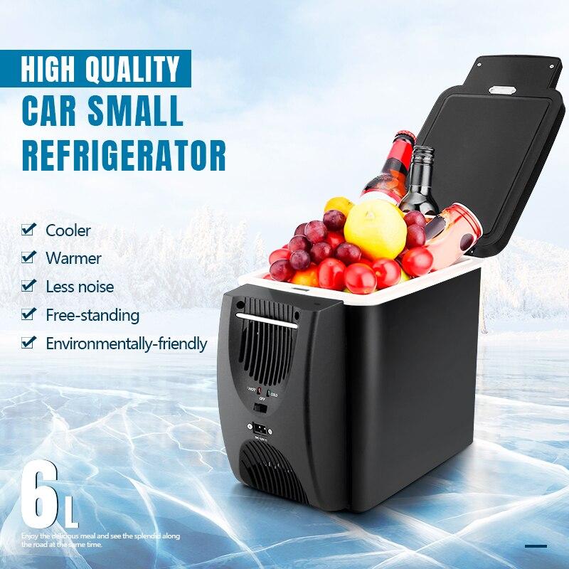 Mini Refrigerator Freezer Car Fridge 6L Portable Cooler 12V Low Noise Multi-Function Anti-Rotten Dual Use For Home Camping