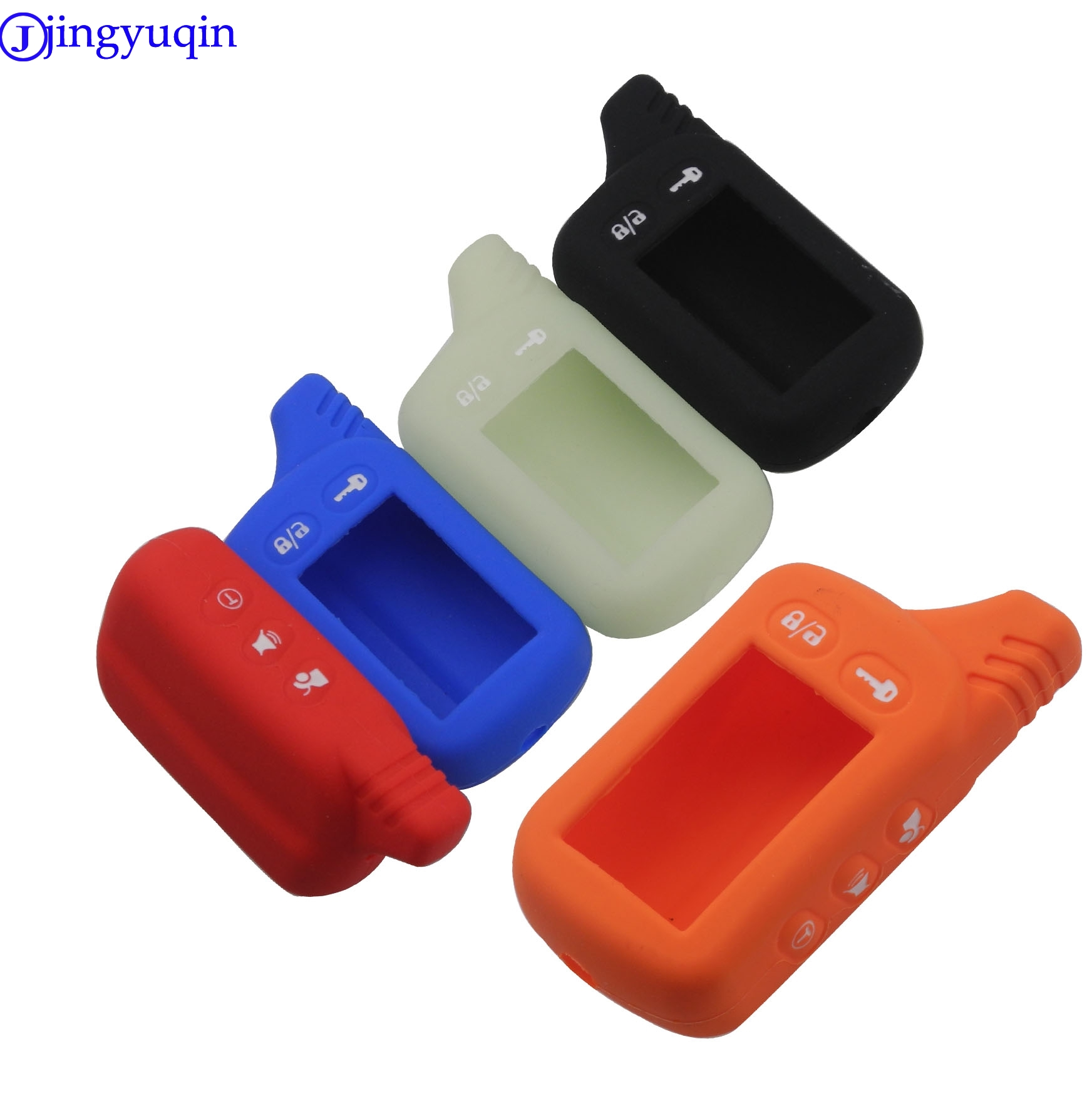 Jingyuqin For Tomahawk TZ9030 TZ9010 SL-950 S-700 Silicone Case KeyChain For Russian 2-way Alarm System Alarm Key Fob Cover